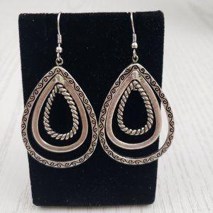 Jewelry - Silver Tone Teardrop Hoop Hook Drop Earrings
